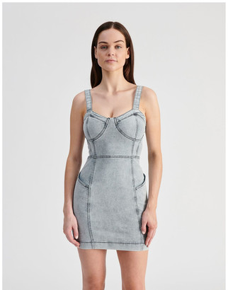 Miss Shop Fitted Denim Dress Lt
