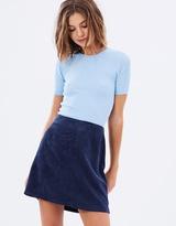 Corduroy Zip Side Mini Skirt