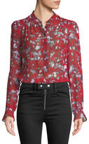 Rag & Bone Susan Button-Down Floral-Print Silk Blouse