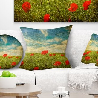"""East Urban Home Floral Sky Background with Poppies Throw Pillow Size: 16"""" x 16"""", Product Type: Throw Pillow"""
