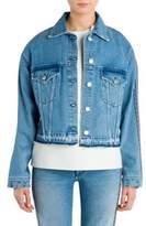 MSGM Cotton Washed Denim Crop Jacket