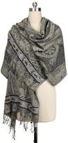 Saachi Black Silk Blend Embellished Wrap