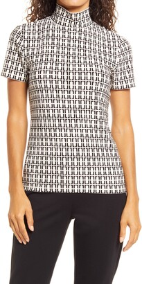 Anne Klein Geo Print Mock Neck Top