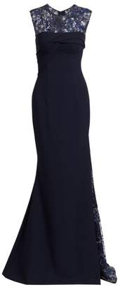Gustavo Cadile Embroidered Beaded Sleeveless Gown