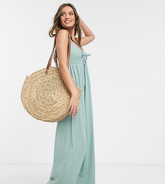 ASOS DESIGN Petite cami bow front maxi sundress in sage
