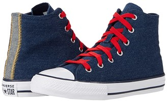 Converse Chuck Taylor(r) All Star(r) Denim - Hi (Little Kid/Big Kid) (Obsidian/Sunflower Gold/University Red) Boy's Shoes