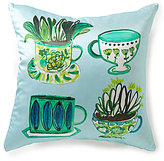 Kate Spade Folk Art Green Tea Square Pillow