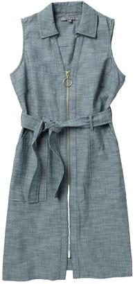 Sharagano Sleeveless Zip Front Chambray Dress (Petite)