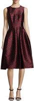 Michael Kors Dotted Jacquard Midi Bell Dress