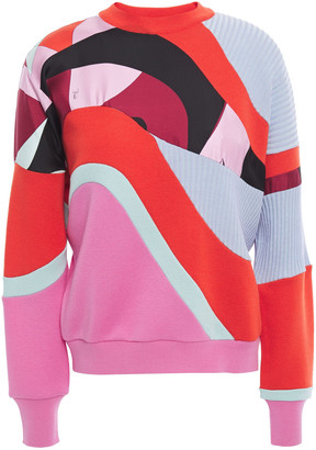 Emilio Pucci Patchwork-effect Printed Silk-twill, Ribbed-knit And Wool Sweater