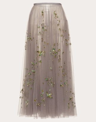 Valentino Embroidered Tulle Skirt Women Light Blue 100% Poliammide 38