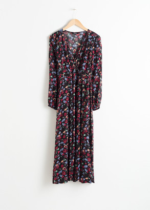 And other stories Sheer Printed Midi Dress