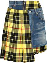 Junya Watanabe Paneled Tartan Wool And Denim Skirt - Bright yellow