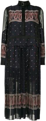 Sacai Paisley-Print Satin And Organza Midi Dress