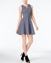 Bar III Zip-Front Fit & Flare Scuba Dress, Created for Macy's