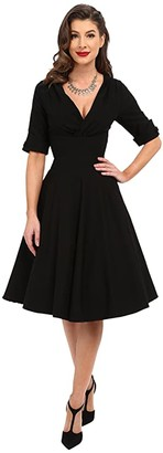 Unique Vintage 3/4 Sleeve Delores Swing Dress (Black) Women's Dress