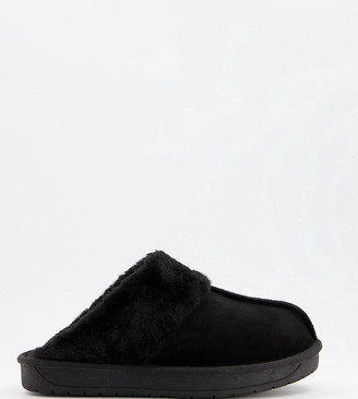 Simply Be extra wide fit mule slippers in black