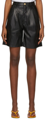 Simon Miller Black Faux-Leather Norm Shorts