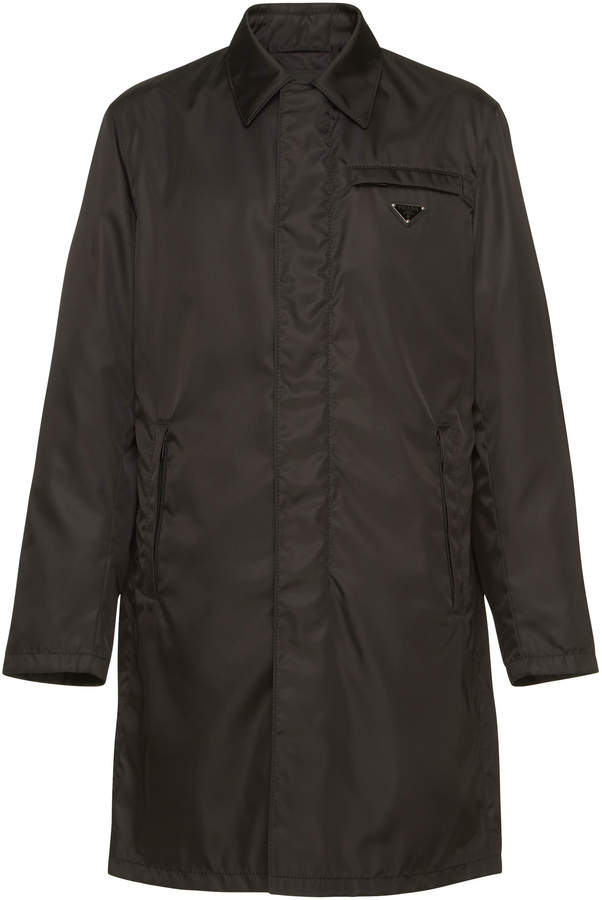Prada Black Nylon Zip-Front Raincoat