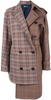 Kolor Asymmetric Houndstooth Coat