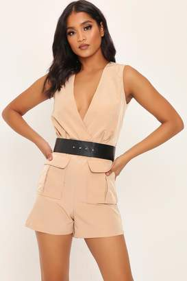I SAW IT FIRST Camel Utility Belted Playsuit