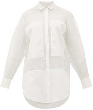 Lee Mathews Callie Poplin-panel Organza Shirt - Womens - White
