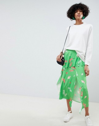 Asos Design DESIGN slinky floral print midi tea skirt with frill-Multi