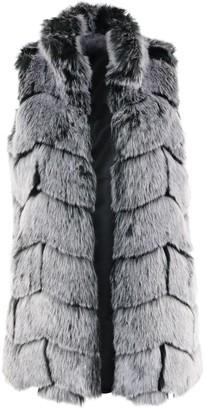 Fabulous Furs Chevron Fox Vest in Frosted Gray Size 2X