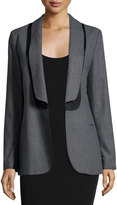 See by Chloe Layered-Collar Open Blazer, Gray/Black