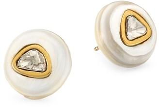 Nest Blonde Horn 24K Goldplated, Water Buffalo Horn & Diamond Stud Earrings
