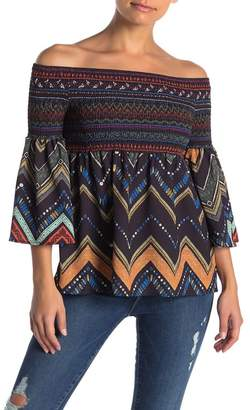Flying Tomato Smocked Off-the-Shoulder Geometric Top