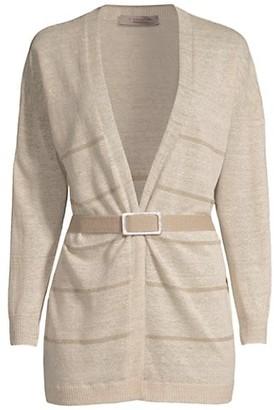 D-Exterior Lurex-Stripe Belted Knit Cardigan