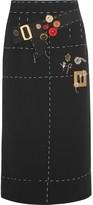 Dolce & Gabbana Embellished Silk-blend Crepe Skirt - Black