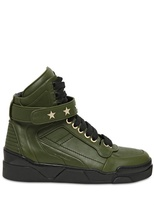 Givenchy Star Studded Leather High Top Sneakers