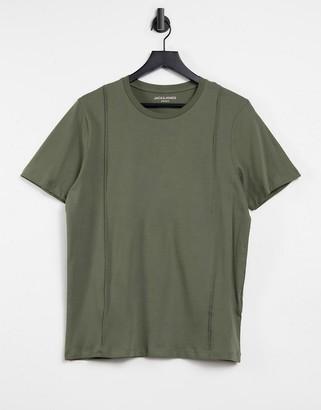 Jack and Jones t-shirt with pin tucks in khaki