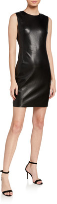 Theory Bedford Faux-Leather Sheath Dress