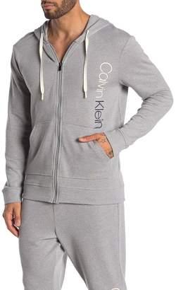 Calvin Klein Printed Logo Zip Up Hooded Jacket