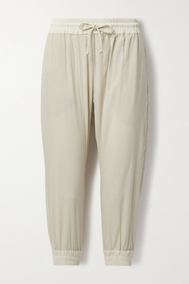 PARADISED Crinkled Cotton-gauze Track Pants - Cream