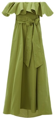 Valentino Ruffled Off-the-shoulder Cotton-blend Gown - Womens - Green