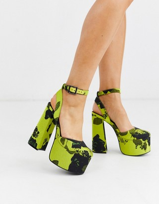 ASOS DESIGN Punch chunky platform high block heels in lime jacquard