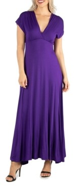 24seven Comfort Apparel Women's Cap Sleeve V-Neck Maxi Dress