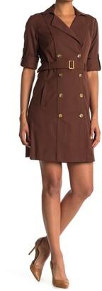 Sharagano Double Breasted Shirt Dress