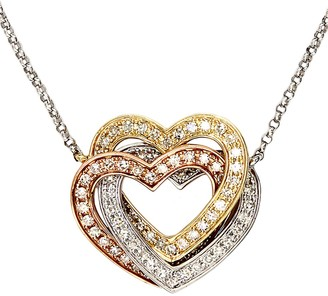 Effy Trio 14K White Yellow and Rose Gold Diamond Hearts Necklace