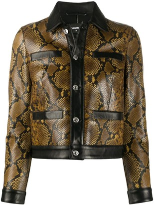 DSQUARED2 Snakeskin Effect Contrast Leather Jacket