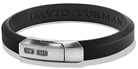 David Yurman Streamline Black Rubber Id Bracelet in Sterling Silver