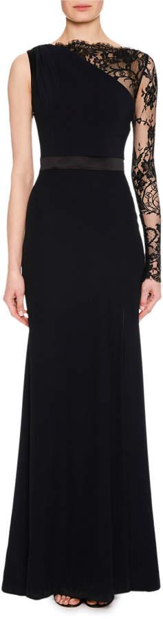 Alexander McQueen Lace One-Sleeve Column Crepe Evening Gown w/ Leg Slit