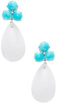 Rina Limor Fine Jewelry 14K White Gold, Amazonite, White Agate & 0.07 Total Ct. Diamond Drop Earrings