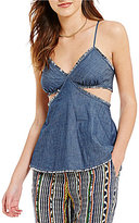 Chelsea & Violet V-Neck Sleeveless Denim Cutout Top