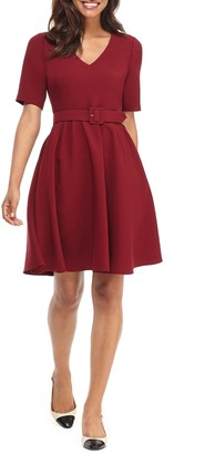 Gal Meets Glam Clara Belted Fit & Flare Dress