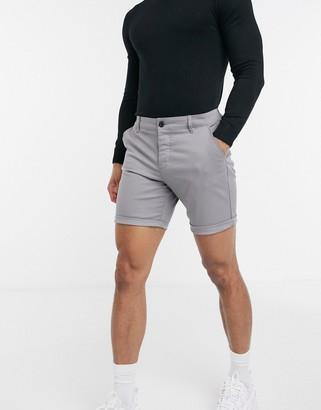 ASOS DESIGN slim chino shorts in light gray